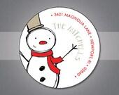 Custom Return Address Labels Holiday - snowman - set of 70 labels