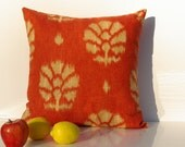 "Ikat  Modern Designer Pillow  Cover 20""x20""  Burned Orange / Reserved Listing for S."
