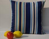 """Contemporary Blue Striped Pillow Cover 20"""" x 20"""" - Throw Pillow - Interior Designers Pillow."""