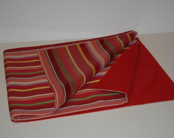 Brightly Striped Table Runner in Red, Green and Golden/Yellow Tones. 16x72 inches.