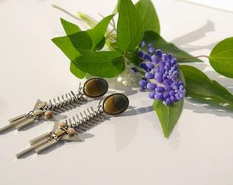 1970's Abstract Modernist Fish bone Earrings - OOAK