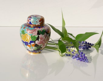 Floral and Butterflies Chinese Cloisonne covered Box - Unusually detailed piece.