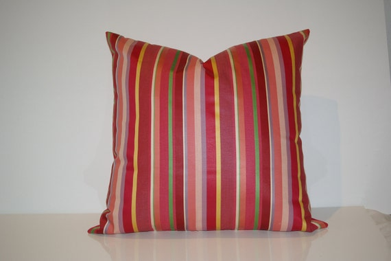 """Modern Pillow Cover 20""""x 20"""", Brightly striped Silk like fabric in Red, Green, Orange and Golden/Yellow tones."""