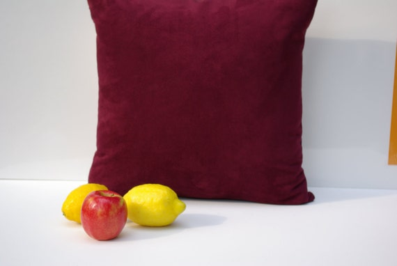 """Micro Suede Maroon Pillow Cover 20"""" x 20"""" - Designer Home Decor Fabric-Throw Pillow-Lumbar Pillow-Couch Pillow-Living Room"""