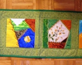 Crazy Quilt Table Runner Embroidery Beaded Green Border