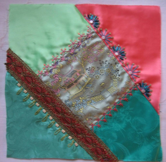 Patchwork Embellished Crazy Quilt Square Block Embroidery Beads