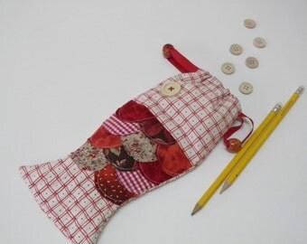 Pencil String Bag Fish Quilt Patchwork Fish Bag Red Fish String Bag