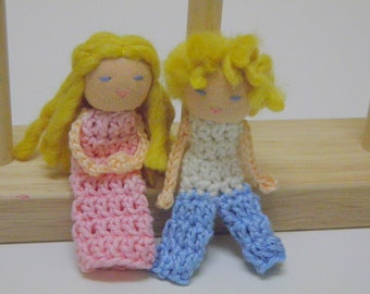 Hilda and Hans Finger Puppet Dolls - Waldorf Puppets