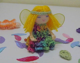 Yellow Haired Finger Puppet Fairy - Faerie Doll
