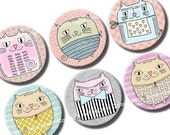 Digital Collage Sheet Potato Cats 1 inch circles  for bottle caps, pebble magnets, scrapbooking. Digital download printables. Small inchies