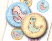 Bird Party 2.5 inch circles digital collage sheet. Round images for 2.25 inch pocket mirrors. Birds download graphics. Whimsical characters.