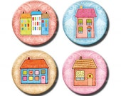 Sweet Little Houses 1 inch circles. Colorful Digital bottle caps. Printable building images for jewelry, magnets. Cute art.