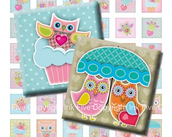1 inch valentines squares Owls in Love Printable Images. Inchies digital download images for scrapbooking. Owl party decors 1x1 inch square