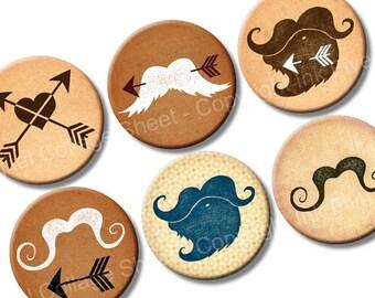 Father's Day Mustache Meet Arrows 1 inch circles Printable Images for scrapbook, magnets, bottlecaps, glass tile pendants, bottle caps badge