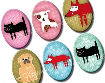 Funny Zoo 18 x 25 mm ovals. Digital images for cabochons, pendants, cameos. Printable collage sheet. Animals pug fox cat dog images