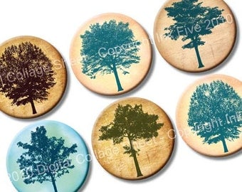 Among the Trees 1 inch circles digital collage sheet. Retro printable tree silhouettes images for bottle caps magnets, scrapbooks, pendants