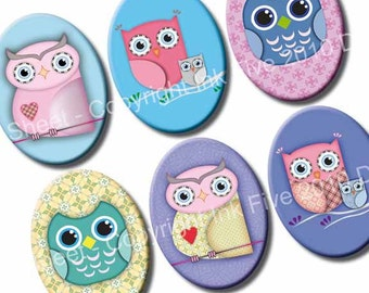 30x40 mm ovals Owls. Collage sheet for cabochons, cameos, pendants. Printable owl 30 x 40 mm oval images for digital download.