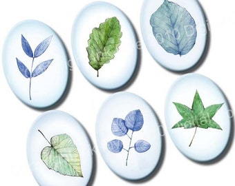 Spring Leaves 18 x 25 mm ovals. Digital images for cabochons, pendants, jewelry, cameos. Printable digital collage sheet. Nature images