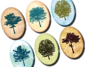 Among the Trees 18 x 25 mm ovals. Collage sheet for cabochons, cameos, pendants. Printable download for jewelry 18x25 mm
