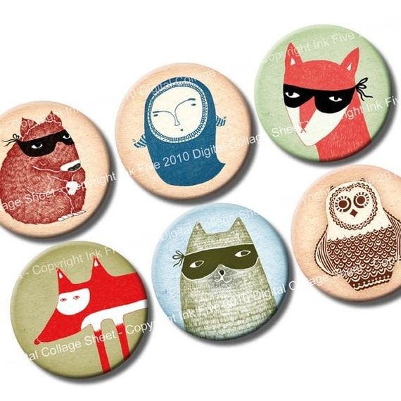 1 inch circles Neighbourhood Creatures - bottlecaps printable images - digital collage sheet for cupcake toppers, scrapbooks, magnets, cards