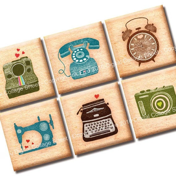 I Heart Machines 1 inch squares printable digital images for jewelry, pendants, magnets, cards, tags, pendants, embellishments, scrapbooks