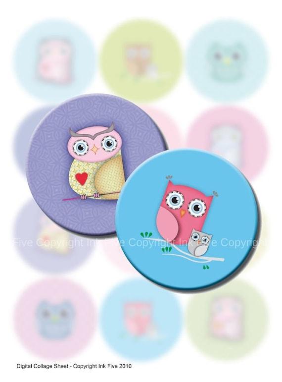 Owls  2.5 inch circles printable images Digital Collage Sheet for pocket mirrors, magnets, cards, badges, . Digital download printables