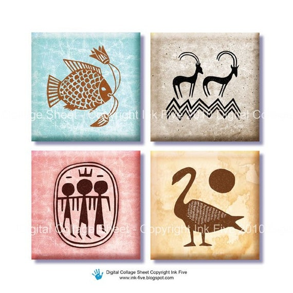 Antique images Ancient Egyptian Signs 1 inch squares Digital Collage Sheet for jewelry, magnets, scrapbooking, pendants, embellishments