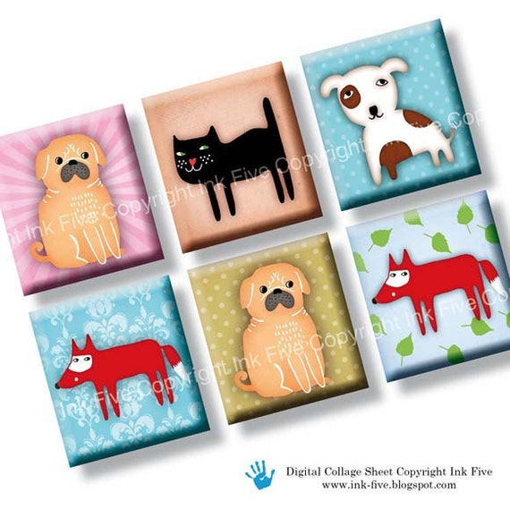 Funny Zoo scrabble tile size images 0.75x0.83 inch. Two 4x6'' Collage Sheets for pendants. Digital download animals cat pug fox printables.