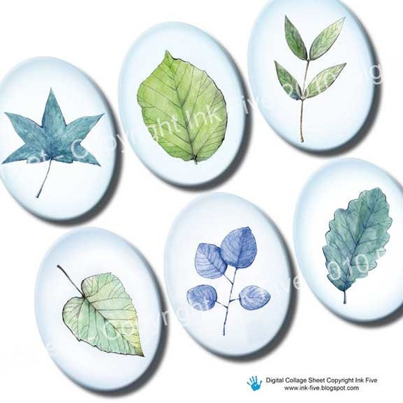 30x40 mm ovals Spring Leaves. Collage sheet for cabochons, cameos, pendants.  Blue green printable big oval images download