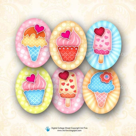 30x40 mm ovals Sweet Ice Cream. Images for cabochons, cameos, pendants. Cupcakes modern digital download. 30x40 mm mod collage sheet