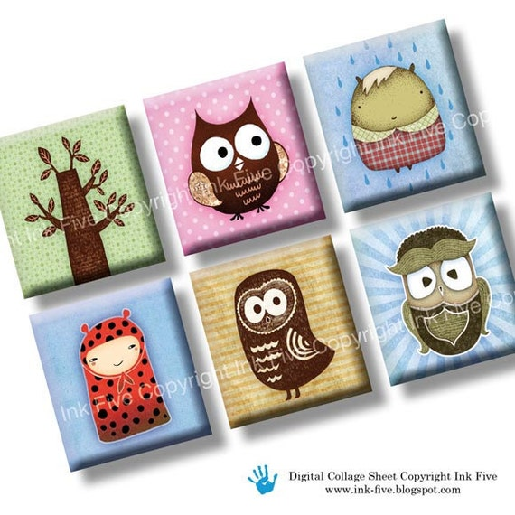 Owls and Woodland Creatures scrabble tile images 0.75x0.83 inch squares. Two 4x6'' Collage Sheets. Digital whimsical printables