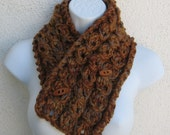 CINNAMON & MOCHA Cable Button Cowl with warm browns, beige and taupe