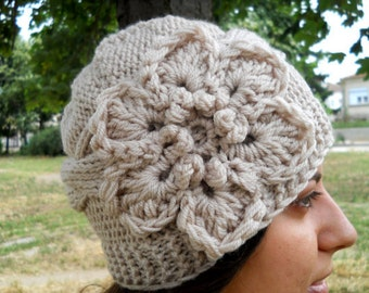 Hand Knit Hat - Cable Hat With Flower Womens Knit Hat, Women Hat Knit Winter Hat