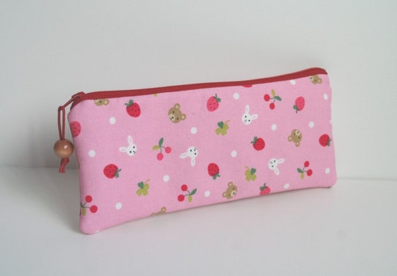 Japan Relief 100% donated - Fun animals and fruits padded long zipper pouch