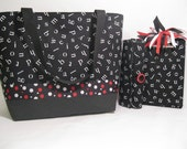 Letters Tote Set - Bag, Pen Roll & Covered Mini Clipboard