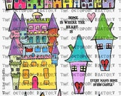 INSTANT DOWNLOAD Whimsical Houses Digital Collage Sheet