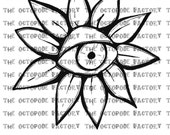 INSTANT DOWNLOAD Eye Flower Digital Stamp Image