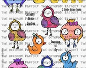 INSTANT DOWNLOAD Colourful Cute Birds Digital Collage Sheet