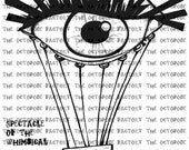 INSTANT DOWNLOAD Spectacle of the Whimsical Eye Hot Air Balloon Digital Stamp