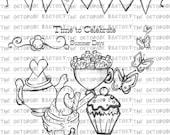 INSTANT DOWNLOAD Summer TeaParty digital stamp set