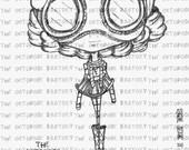 INSTANT DOWNLOAD Steampunk Little Miss Siouxsie Digital Stamp Image