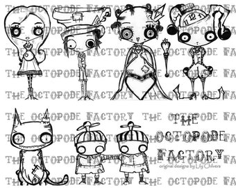 INSTANT DOWNLOAD Alice in Wonderland Digital Stamps Set of 6