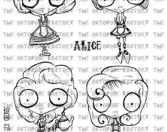 INSTANT DOWNLOAD alice set of 4 digital stamps