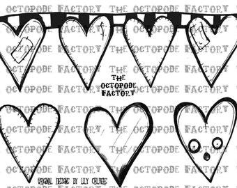 INSTANT DOWNLOAD Valentine Hearts Banner Digital Stamp Image