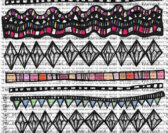 INSTANT DOWNLOAD Colourful Borders Digital Collage Sheet