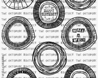 INSTANT DOWNLOAD Rosette digital stamp collage sheet