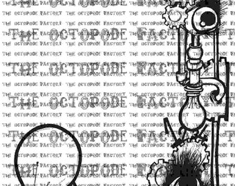 INSTANT DOWNLOAD Steampunk Border Digital Stamp Image