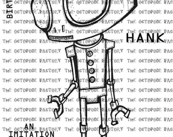 INSTANT DOWNLOAD Robot Hank digital stamp image