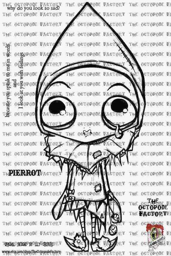 INSTANT DOWNLOAD Sad Little Pierrot Digital Stamp Image