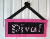 Diva Word Wall Hanging in Zebra, Black and Hot Pink with Rhinestone Embellishment